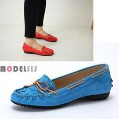 MODELSIS - Color-Block Ribbon-Accent Loafers