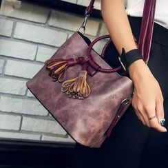 Nautilus Bags - Tasseled Faux Leather Shoulder Bag with Pouch
