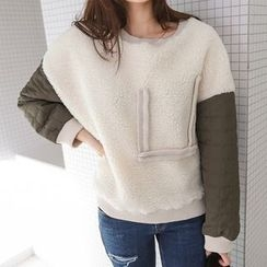 PPGIRL - Quilted-Sleeve Boucle-Knit Pullover