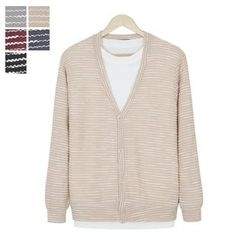 DANGOON - V-Neck Button-Down Stripe Cardigan