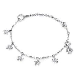 MBLife.com - Left Right Accessory - 9K/375 White Gold Dangling Star Anklet (23cm)