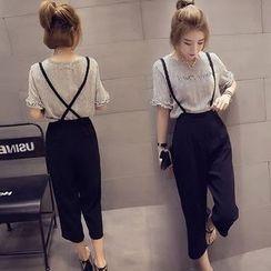 Angel Shine - 套装: 条纹短袖上衣 + 九分吊带裤