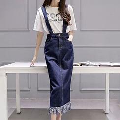 Romantica - Set: Printed T-Shirt + Fringed Denim Jumper Skirt