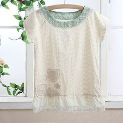 Blue Hat - Short-Sleeve Eyelet-Lace Top