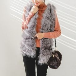 JUSTONE - Open-Front Tiered Faux-Fur Vest
