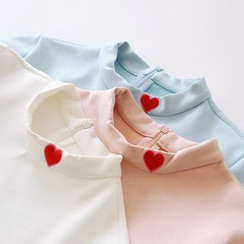 Bonbon - Heart Embroidered Mock Neck Long-Sleeve T-Shirt