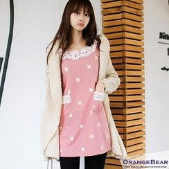 OrangeBear - Bow-Print Lace-Collar Dress