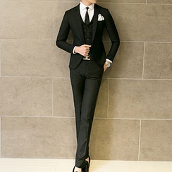 Besto - Set: One-button Blazer + Vest + Dress Pants