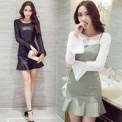 Clospace - Set: Lace Bell-Sleeve Top + Faux Leather Camisole Top + Ruffle Hem Mini Skirt