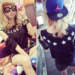 QZ Lady - Printed Zip-Shoulder T-Shirt