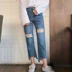Lyrae - 做旧直筒牛仔裤