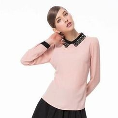 O.SA - Contrast-Collar Jeweled Chiffon Blouse