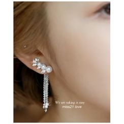 Miss21 Korea - Faux-Pearl Chain-Drop Earrings