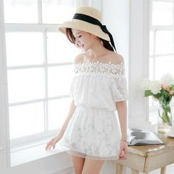 Tokyo Fashion - Off-Shoulder Lace-Trim Tunic Dress