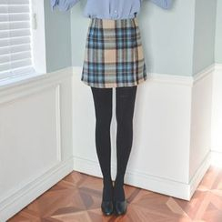 JUSTONE - Plaid Wool Blend Mini Wrap Skirt