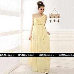 Bridal Workshop - One-Shoulder Rosette A-Line Evening Gown