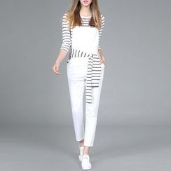 Rosesong - Set: Striped Elbow Sleeve T-Shirt + Pinafore Jumpsuit