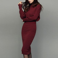 Clospace - Plain Mock Neck Midi Long Sleeve Knit Dress
