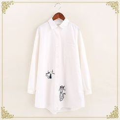 Fairyland - Cat Embroidered Long Shirt