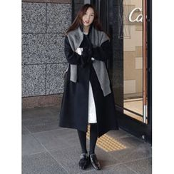 maybe-baby - Double-Breasted Wool Blend Coat With Sash