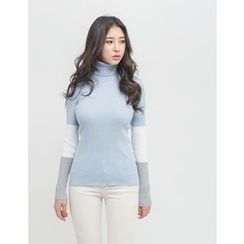 GUMZZI - Turtle-Neck Contrast-Trim Top