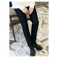 HOTBOOM - Fleece-Lined Straight-Cut Pants