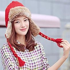Thantrue - Braided Embroidered Earflap Hat