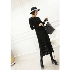 Lemite - Accordion-Pleat Lace Long Skirt