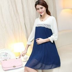 Ceres - Maternity 3/4-Sleeve Lace Panel Dress