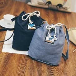 Youme - Embroidered Denim Bucket Crossbody Bag