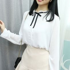 Dodostyle - Ribbon-Neck Chiffon Blouse