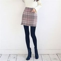 JVLLY - Fringe-Hem Tweed Wool Blend Mini Skirt