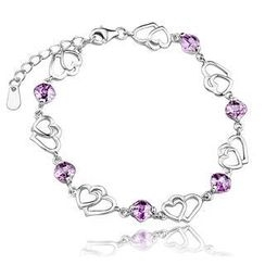 BELEC - 925 Sterling Silver Heart-shape Bracelet with Purple Cubic Zircon
