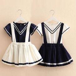 贝壳童装 - 小童套装: 短袖T恤 + 打褶裥吊带裙