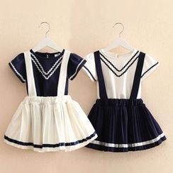 Seashells Kids - Kids Set: Short-Sleeve T-Shirt + Pleated Suspender Skirt