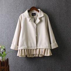 藍玫瑰衣坊 - 荷葉襬格子外套