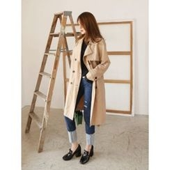LOLOten - Double-Breasted Trench Coat with Sash