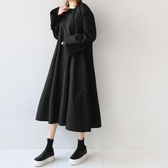NANING9 - A-Line Long Shirtdress with Sash