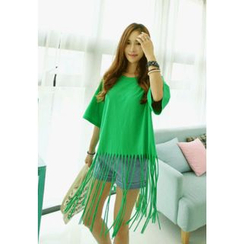 REDOPIN - Elbow-Sleeve Fringed Top