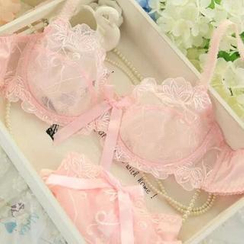 HYG Lingerie - Set: Embroidered Sheer Bra + Panties