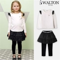 WALTON kids - Girls Set: Frilled T-Shirt + Inset Tulle Skirt Leggings