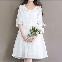 Clover Dream - Set: Elbow-Sleeve A-Line Dress + Slipdress