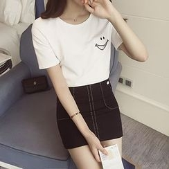 Frontline - Smiley Printed Short-Sleeve T-shirt