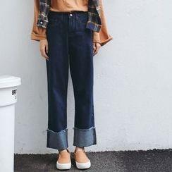 Hanme - Wide-Leg Cuffed Jeans