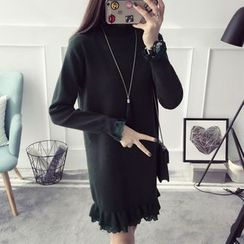 Qimi - Ruffle Trim Long-Sleeve Knit Dress