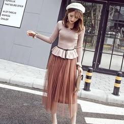 Honeydew - 套裝: 長袖針織上衣 + 網紗中長裙