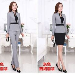 Princess Min - Set: Single-Button Blazer + Pencil Skirt / Trousers