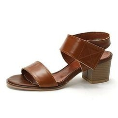 MODELSIS - Genuine Leather Velcro Ankle-Strap Sandals