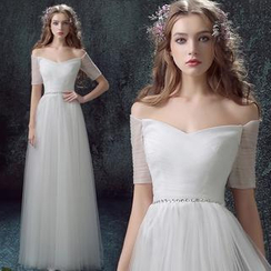 Angel Bridal - Sleeved A-Line Wedding Dress