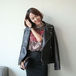 WITH IPUN - Diagonal-Zip Oversized Faux-Leather Jacket